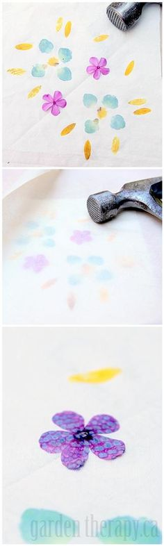 flower pounding - the art of transferring flower or leaf pigments to fabric or paper. How cool is this?! Full instructions on how to print from the garden in the post.