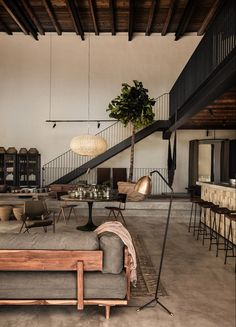 2018 interior decor trends, concrete living room decor