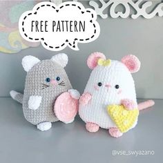 Free Crochet Cat And Mouse Pattern - Amigurumi Crochet Baby Toys, Crochet Mouse, Cute Crochet, Crochet Dolls, Crochet Animal Patterns, Crochet Patterns Amigurumi, Amigurumi Doll, Crochet Animals, Dog Pattern