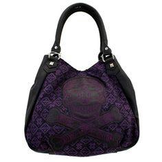 Loungefly Black & Purple Tweed Skull Embroidered Purse Crossbody Handbag Bag #Loungefly #Purse