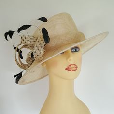 19277765 Ladies Formal Hat Wedding Races Cream Black Spotted Front Feathered Bow Black  Spot, Church Hats