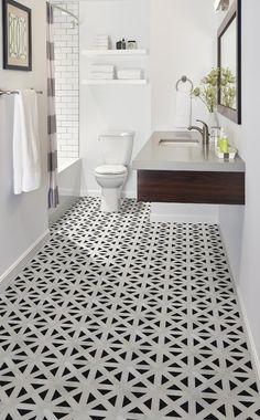 Retro Retro Fretwork Random Sized Marble Mosaic Tile in Black/Gray Marble Mosaic, Mosaic Tiles, Tiling, Bathroom Floor Tiles, Tile Floor, Tiled Bathrooms, Bathroom Cabinets, Shiplap Bathroom, Black Bathrooms