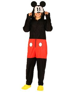 Mickey Mouse Footed Hooded Adult Pajamas