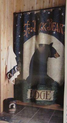 4499 Blonder Home Midnight Lodge Black Bear Rustic Cabin Bath Fabric Shower Curtain Look
