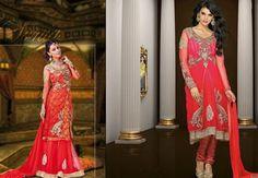 $131.76 Red Embroidered Net Anarkali Salwar Kameez 26486