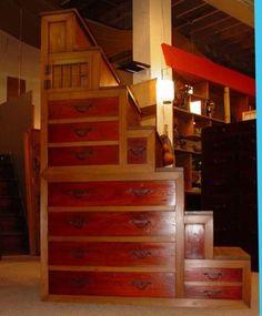 Authentic Japanese Antique Kaidan Dansu, Step Tansu. Chest FurnitureTiny ...