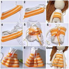 Dress up your Blythe, Waldorf doll, Paola Reina or amigurumi crochet toys in this cardigan with round yoke. Crochet Doll Dress, Crochet Doll Clothes, Crochet Doll Pattern, Knitted Dolls, Doll Clothes Patterns, Doll Patterns, Crochet Patterns, Amigurumi Patterns, Amigurumi Doll