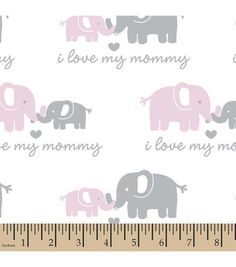 Snuggle Flannel Fabric - Love Mommy Pink