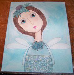 Mixed media Original whimsical angel girl folk by UpAndAwayStudio, $20.00