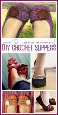 Crocheted Slippers - with roundup! - Sugar Bee Crafts tons of free patterns for how to make your own crochet slippers - love all of these! --Sugar Bee Crafts Should you appreciate arts and crafts a person will enjoy our info! Diy Crochet Slippers, Crochet Boots, Crochet Clothes, Knit Crochet, Crochet Baby, Felted Slippers, Crochet Crafts, Crochet Projects, Diy Crochet Gifts