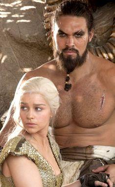 Emilia Clarke and Jason Momoa as Daenerys Targaryen and Khal Drogo