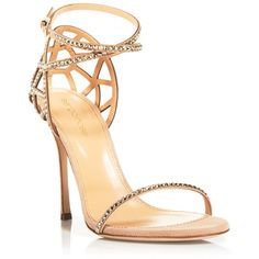 Sergio Rossi Strappy Evening Sandals ($1,195) ❤ liked on Polyvore featuring shoes, sandals, heels, calçados, pumps, nude, tie sandals, evening sandals, sergio rossi sandals e caged heel sandals