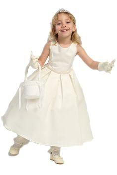Classic Pearl Trimmed Flower Girl Dress K235 $59.95 on www.GirlsDressLine.Com