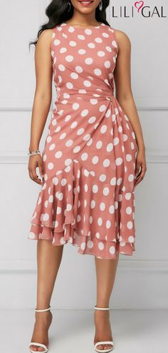 Ruffle Hem Polka Dot Print Sleeveless Sheath Dress #liligal #dresses #womenswear #womensfashion