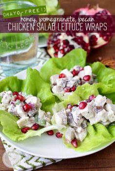 Honey, Pomegranate, Pecan Chicken Salad Lettuce Wraps (Mayo-Free!) by Iowa Girl Eats