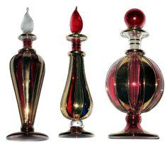 Egyptian Blown Glass Perfume Bottles:  Arabian Nights Collection