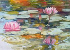 Zeh Original Art Blog Watercolor and Oil Paintings: Waterlilies - Two Paintings in Watercolor - Tropicals #33 & 34