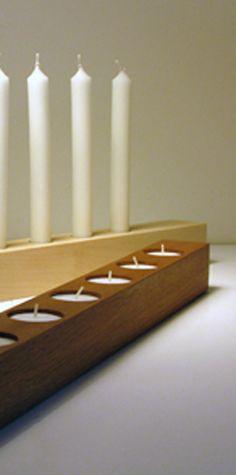 Brennholz - Kerzenhalter für Stabkerzen und Teelichter