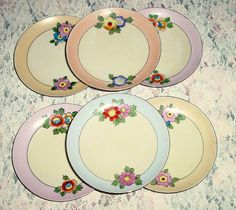 Meito set of 6 Porcelain Vintage Handpainted by EraCaches