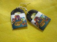Beatles, the yellow submarine, vinyl record miniature earrings