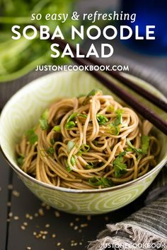 Soba Noodle Salad - chilled or at room temperature, this Soba Noodle Salad tossed in a honey-soy dressing is exactly what you need for a quick, health. Easy Japanese Recipes, Asian Recipes, Healthy Recipes, Ethnic Recipes, Japanese Food, Veggie Recipes, Soba Salad, Noodle Salad, Ramen Noodle