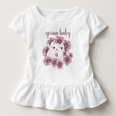 Cat Cute Spring Baby Floral Purple Bloom Blossom Toddler T-shirt - floral style flower flowers stylish diy personalize