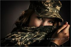 Dramatic military inspired senior pictures. So cool! #arisingimages #military #army #photoshoot #girl #seniorpics