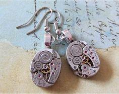Steampunk watch earrings - Almost Time  - Steampunk Earrings - Repurposed art