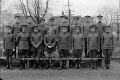 Capt. Charles Betz and officers at the U.S. School of Aerial Photography at Kodak Park during World War I.