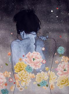 Art Binge! Girls, Flowers, Stars and Moons.