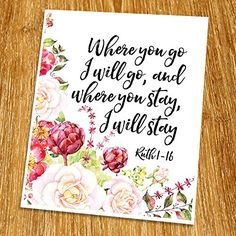 Ruth 1 16 Where You Go I Will Print Unframed Scripture Wall Art Quote Church Decor Wisdom Word Religious