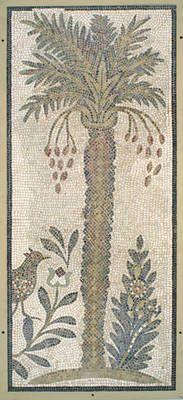 Roman Mosaic. Palm Tree. Tunis, Tunisia.