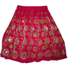 Mogul Women's Skirts Sequin Embroidered Bohemian Mini Skirt ($70) ❤ liked on Polyvore featuring skirts, mini skirts, embroidered skirt, boho skirts, pink skirt, bohemian style skirts and short mini skirts