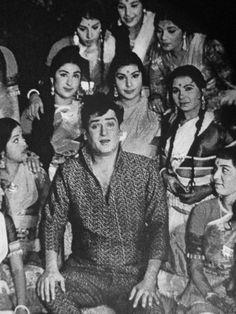 Shammi Kapoor with background dancers from Rajkumar 1964.