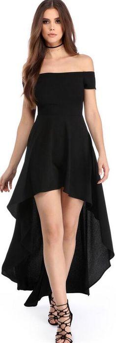 Pure Color Off-Shoulder High Waist Irregular Long Dress