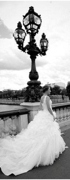 Asymetric Paris wedding dress with full skirt © www. via French Wedding Style Paris Wedding, Formal Wedding, Wedding Pics, Wedding Bride, Wedding Styles, Dream Wedding, Paris Elopement, Wedding Dreams, Wedding Bells