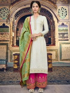 Off white jacquard straight cut palazzo suit with banarasi dupatta Silk Anarkali Suits, Pakistani Salwar Kameez, Silk Dupatta, Pakistani Suits, Pakistani Dresses, Indian Suits, Salwar Suits Online, Salwar Kameez Online, Designer Salwar Suits