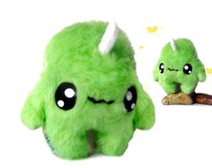 Fluse Kawaii Plush Monster Unicorn light green von Fluse123 auf Etsy, €22.00