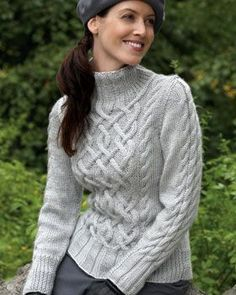 Intricate aran-style cable sweater with delicate braided accents. Shown in Bernat Satin--Sterling Cables Sweater Free Aran Knitting Patterns, Jumper Knitting Pattern, Cable Knitting, Knit Patterns, Free Knitting, Sweater Patterns, Knitting Gauge, Knitting Needles, Cable Sweater