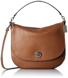 Women's Top-Handle Handbags - COACH Womens Pebbled Turnlock Hobo SVSaddle Hobo * Check this awesome product by going to the link at the image.