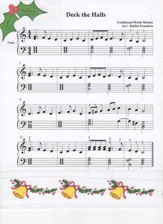 Deck the Halls, block chords, Christmas song Easy Piano Sheet Music, Violin Sheet Music, Free Sheet Music, Printable Sheet Music, Christmas Piano Sheet Music, Christmas Music, Elementary Music Lessons, Cello Music, Piano Recital
