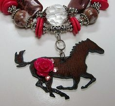 Image detail for -COWGIRL NECKLACE Pink and Brown Chunky Western Horse Pendant Necklace ...