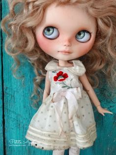 Blythe doll outfit *Cruising the English channel* embroidered vintage dress by marina, $59.00 USD