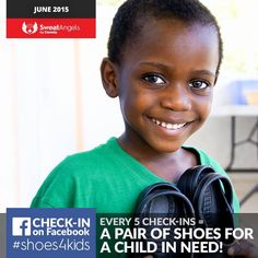 Check-ins on Facebook during the month of June go toward providing shoes for those in need. Every 5 check ins means 1 pair of shoes. Our gym contributes to charity.