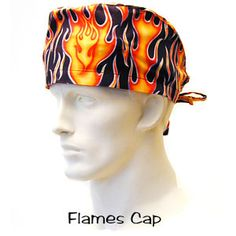 Flames Surgical Cap 100% cotton made in the USA