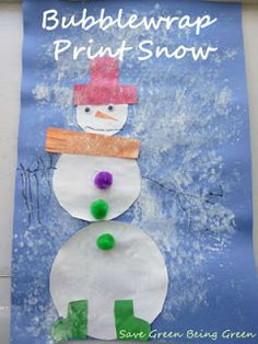 Bubble Wrap Print Snowman Craft - fun and easy craft art project for preschool age and kindergarten kids
