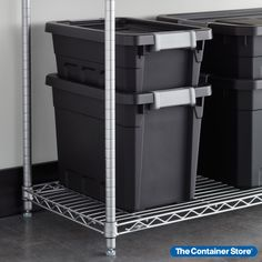 Our modular Sterilite Black Stacker Totes can stack together to conserve space. They're extremely rugged and are ideal for use in a garage or shed. The totes stack securely and can be labeled for easy identification of the contents. Garage Organization, Garage Storage, Container Store, Conservation, Contents, Totes, Shed, Space, Easy
