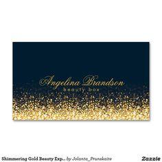 Shimmering Gold Beauty Expert Dark Blue Card Business Card