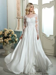Cheap dresses for infant girls, Buy Quality dresses parties directly from China dress giraffe Suppliers: Dressv white vintage scoop neck A-line long wedding dress long sleeves appliques sweep train outdoor wedding dress bridal dress Vintage Style Wedding Dresses, Popular Wedding Dresses, Wedding Dresses For Sale, Cheap Wedding Dress, Princess Wedding Dresses, Bridal Dresses, Wedding Gowns, Lace Wedding, Wedding Vintage