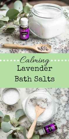 Calming Lavender Bath Salts - The Natural Nurturer Young Living Bath, Young Living Lavender, Lavender Bath Salts, Lavender Oil, Lavender Ideas, Lavender Recipes, Lush Bath, Bath Salts Recipe, Bath Boms